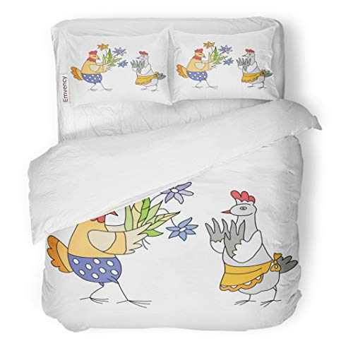 Semtomn Decor Duvet Cover Set Twin Size Animal Chicken Gets of Flowers Anniversary Birthday Bouquet Bright 3 Piece Brushed Microfiber Fabric Print Bedding Set Cover