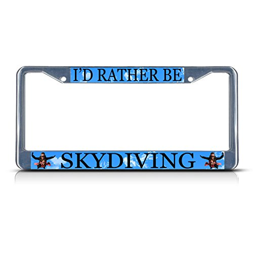 ing Metal License Plate Frame Tag Border Two Holes Perfect for Men Women Car garadge Decor ()