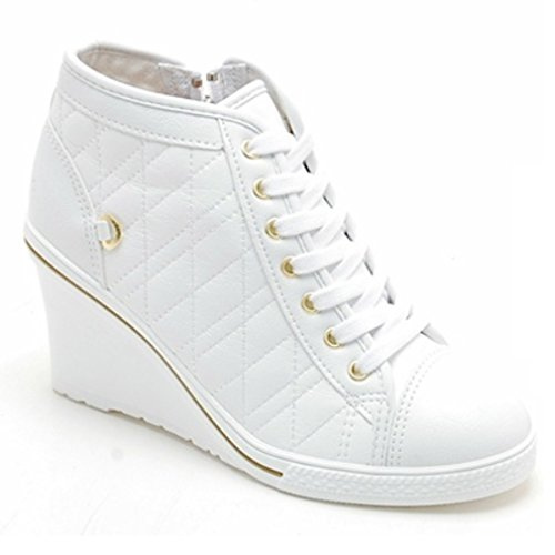 Epicsnob Womens Shoes White High Top Canvas Simple Lace Up Synthetic Fashion Sneakers 6 M US (Canvas High Shoes)