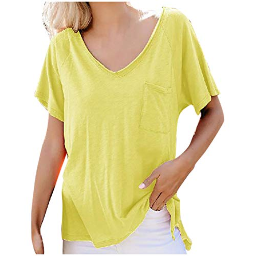 Womens Sexy Tops 2019, YEZIJIN Women Casual Tops Solid Color V-Neck Pocket Short Sleeve T-Shirt Blouse Yellow]()