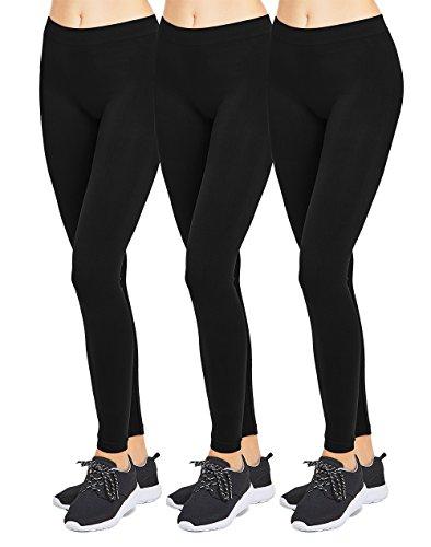 Nylon Opaque Leggings (Mopas Teejoy Women's Seamless Nylon Full Length Leggings (Pack of 3) - Black)