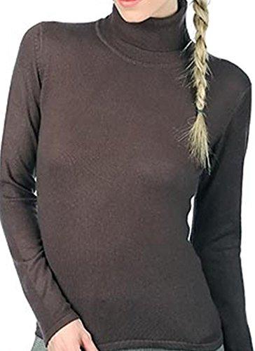 Balldiri 100% Cashmere Kaschmir Damen Pullover Rollkragen ohne Bündchen brownies XL