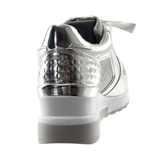 Zeppe Argento Sporty Zip Zeppa Zeppa Sneaker 5 Scarpe Donna Chic Angkorly Strass Moda in cm Lacci Tennis Tacco Raso Piattaforma 0qw4xCH