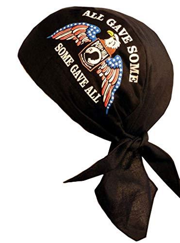 Sparkling Earth Skull Cap Biker Caps Headwraps Doo Rags - POW/MIA Some Gave All w/Eagle on Black