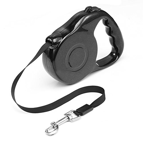 Kacuco Retractable Dog Leash - Ribbon Lead for Training, Backyard Use and Walking Dogs - Easy to Grip Handle - Pet Training[Black]
