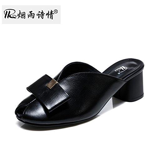 black Chaussures Pantoufles Poisson De Grossier Femme Talons Sandales Bow Summer Cool Milieu Des Au De KPHY Bouche Des wfBgxq8BT