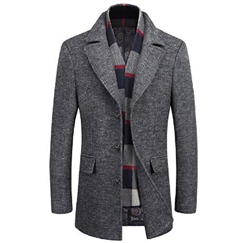 Overcoat EnergyMen Length Woolen Coat Detachable Mid Down Solid 2 Collar Turn BzWwBrqUp