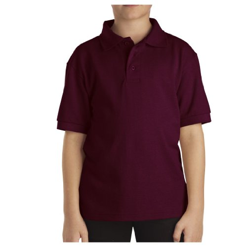 Dickies Big Boys' Short Sleeve Pique Polo Shirt, Burgundy, Large