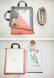 iSuperb A4 Document Organizer Bag Tote Holder iPad Bag Case Waterproof Roomy Bag for Men Women 13.8x10.6inch(Pink)