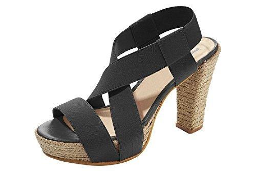 Sandalia de tacón alto para mujer de piel Patrizia Dini negro - negro