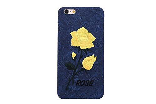iPhone 6s Plus Case,iPhone 6 Plus case,Liujie Handmade Embossed Case Soft Embroidery Rose Fluffy Leather Soft Case Cover Hard Cover For iPhone 6 6s Pl…
