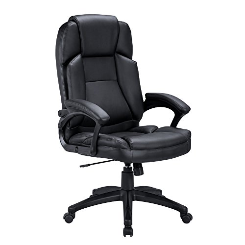 Low Back Guest Chair - LCH High-Back Executive Chair PU Leather Office Chair with Tilt Function Swivel Ergonomic Computer Chair Headrest and Lumbar Support - Black