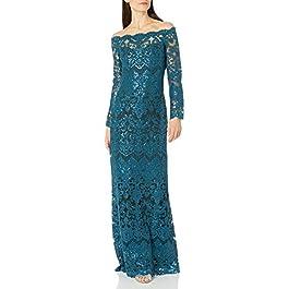 Tadashi Shoji Women's L/S Sequin Lace Gown Special Occasion Dress
