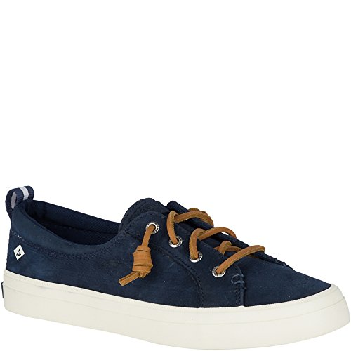 SPERRY Women's Crest Vibe Washable Leather Sneaker, Navy, 8.5