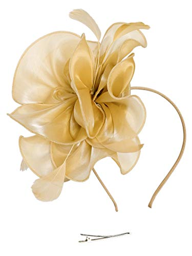Fascinators Hat for Women Tea Party Headband Kentucky Derby Wedding Cocktail Flower Mesh Feathers Hair Clip (2-Gold)]()