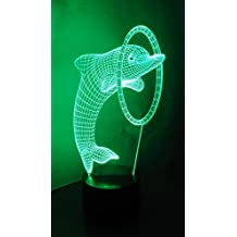 Loveboat 7 Colors Amazing Optical Illusion 3D Glow LED Lamp Art Sculpture Lights Produces Unique Lighting Effects and 3D Visualization for Home Decor (Dolphin through Ring)