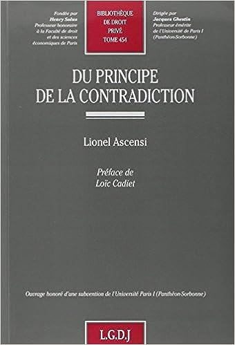 Téléchargement Du principe de la contradiction pdf, epub ebook
