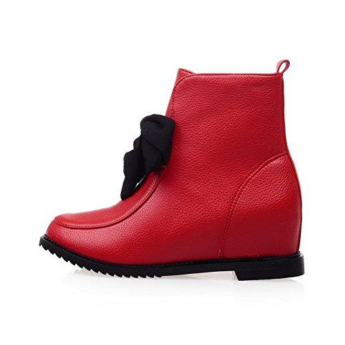 AllhqFashion Mujeres Sólido Cuña Plataforma Sin cordones Caña Baja Botas con Lazos Rojo