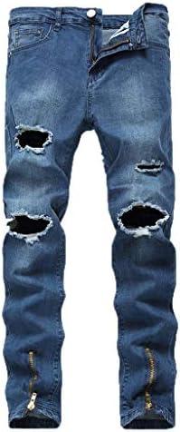 男性の新しいファッション弾性人格ストレッチ破れた人格デニムパンツ