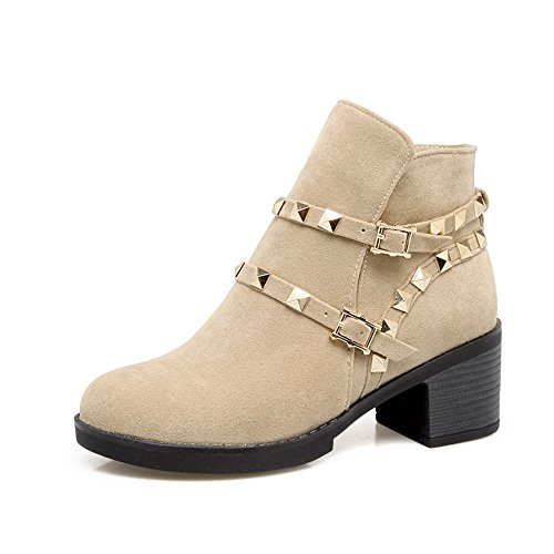 Balamasa Womens Grommets Multilayer Metalen Band No-closure Urethaan Laarzen Abl10626 Beige