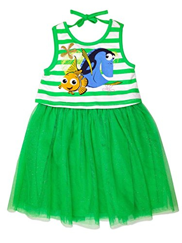 (Disney Little Girls Nemo and Dory Jersey Top and Tulle Dress, Green, 6)