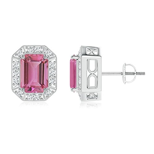 Earring Pink Emerald Cut Tourmaline (Emerald-Cut Pink Tourmaline and Diamond Halo Stud Earrings in Platinum (7x5mm Pink Tourmaline))