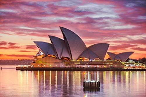 Fantasy Pink Sydney Opera Backdrop 8x6ft Vinyl Famous Australia Landmark Photography Background Seaside Sunset for Wedding Holiday Birthday Backdrop Photo Studio Backdrop Theme Party Backdrop E00T9498 (8' Digital Album Photo)