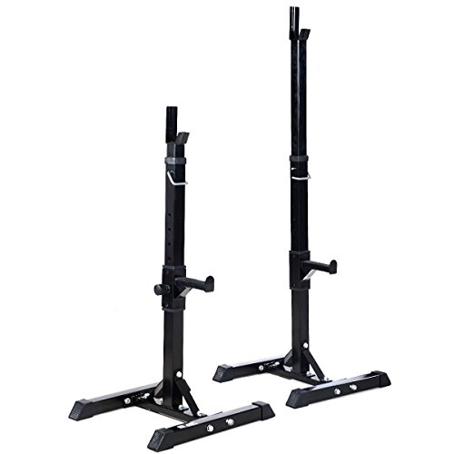 Pair of Adjustable Standard Solid Steel Squat Stands Barbell Free Press Bench by Unknown
