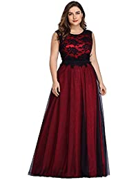 Women's A-Line Floral Lace Appliques Floor-Length Bridesmaid Dress Plus Size 7545PZ