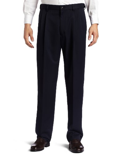 Haggar Men's Big-Tall Cool 18 Gabardine Hidden Expandable Waist Pleat Front Pant, Navy, (Pleat Front Pant)