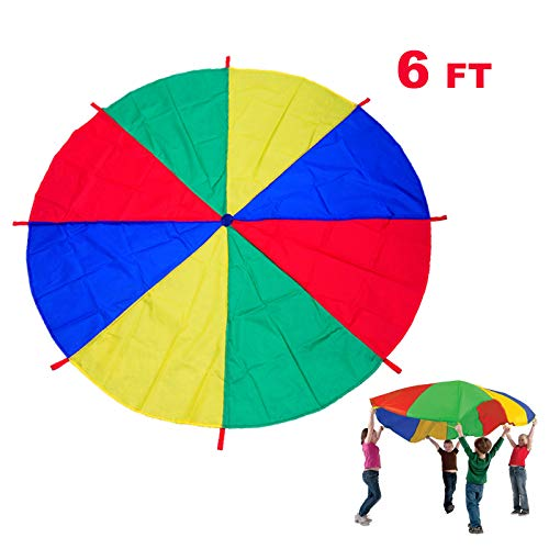(Uglyfish Kids Play Parachute - 6 ft Rainbow Play Parachute for Kids with 9 Handles for 4-8 Kids Tent Cooperative Games Birthday Gift,Promote Teamwork, Fitness, Social Bonding for Ages 3+)