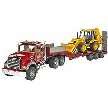 Bruder Mack Granite Flatbed Truck with JCB Loader Backhoe