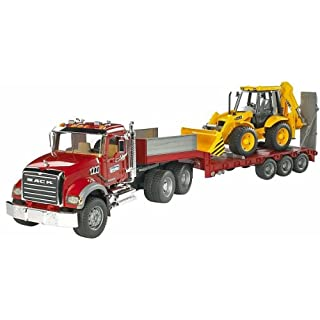 Bruder 02813 Mack Granite Flatbed Truck with JCB Loader Backhoe