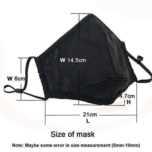 Cotton Mask for Face Black Set Anti Dust Large Unisex Face Washable Mouth with Filters Organic Design Pack Korean Sports Running N95/99 Filters Cycling Outdoor Activated Carbon Pollution Pollen Dust