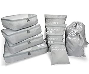 MAGIGO 10 Set Luggage Organizers for Travel with Packing Cubes, Dirty Laundry Bags, Shoes Bag and Wet/Dry Storage Bag
