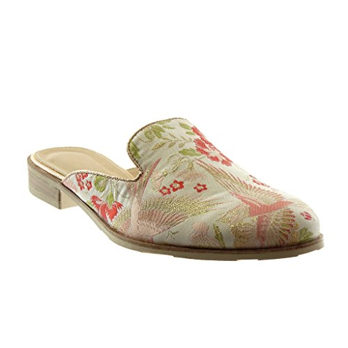 Angkorly Women's Fashion Shoes Oriental Slippers Mules - Slip-on - Open-Back - Fantasy - Flowers - Embroidered Block Heel 2.5 cm Beige