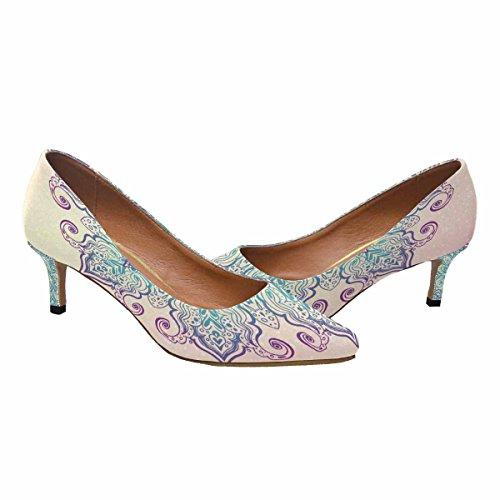 Kitten Shoes Multi 1 Pump Heel Toe InterestPrint Womens Pointed Mandala Dress Low qgE7xZ