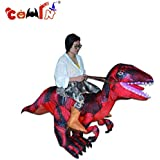 COMIN Inflatable Dinosaur Costume - Riding Costume Adult, Fancy Halloween Dress【Receive Within 5 Days】 Blow Up Suit, for Holiday Party