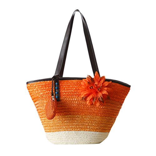 Zhhlaixing Casual Korean Style Color Striped Straw Buns Package Flowers Single Shoulder Woven Package Hit Beach Bags Bolsa hermosa especial for Womens Orange