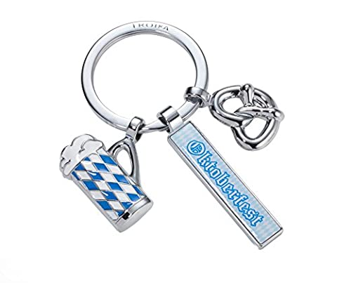 TROIKA TROIKA OKTOBERFEST – KR17-80/CH – Keyring with 3 charms – Bavaria - Munich – keychain, key chain – cast metal/enamel– shiny – chrome plated – blue, white, silver – - Silver Plated Keychain