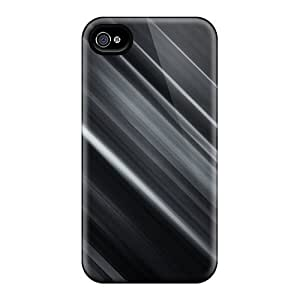 Rugged Skin Case Cover For Iphone 4/4s- Eco-friendly Packaging(black Stripe)