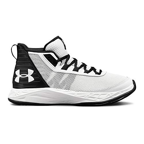 Under Armour Boys' Grade School Jet 2018 Basketball Shoe, White (101)/Black, 4