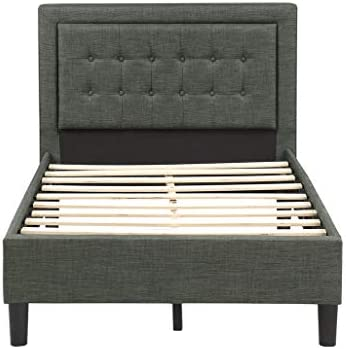 FLIEKS Upholstered Platform Bed Frame Mattress Foundation with Wooden Slat Support and Tufted Headboard Light Grey, Twin