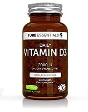 Pure Essentials Vitamine D3 Quotidienne 2000iu Cholécalciférol, 1 par jour, 1 an d'approvisionnement, végétarien, 365 petits comprimés