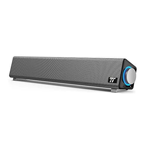 PC スピーカー TaoTronics ステレオ USB サウンドバー 小型 大音量 高音質 (マイク端子とヘッドホン端子付、高い互換性) USB給電 AUX接続 テレビ/パソコン/スマホ 対応 TT-SK018の商品画像