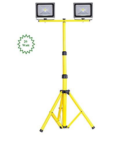 MyraBec Twin 20W CORDLESS LED Floodlights, 2 Brightness Levels, w/ Telescoping Tripod Stand (bundle) by MyraBec Trading