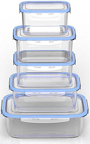 Royal Glass Food Storage Containers - 10-Piece Set - BPA Free and Microwave Safe without Lids - Perfect for Meal Prep (Food Glass Storage Containers compare prices)