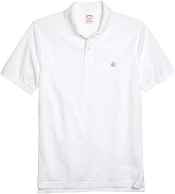 Brooks Brothers Mens Original Fit Mesh Cotton Performance Polo Shirt Bright White