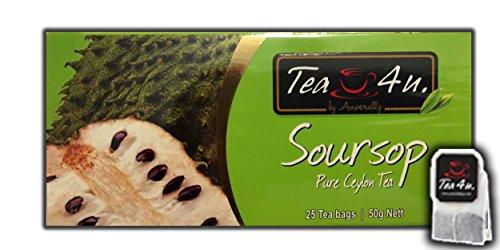 Soursop Tea - 25 Tea Bags | Black Tea | Flavoured | Annona muricata | Guanabana | Graviola | Brazilian paw paw | Fruit tea | Ceylon Tea | Natural & Pure & Unique Quality , From Sri Lanka | Tea4U