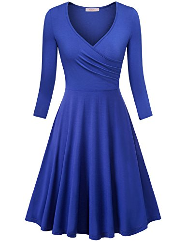 WAJAT Women's Wrap Dress Elegant Vintage A Line Dress Blue M ()